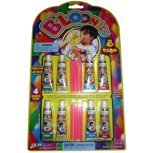 B'loonies Plastic Balloons Variety Pack, 8 Tubes of Assorted Colors