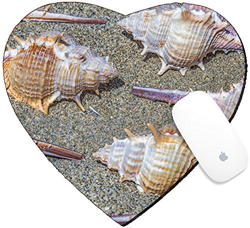 Luxlady Mousepad Heart Shaped Mouse Pads/Mat design IMAGE ID 21495903 Closeup view of an arrangement of spiny seashells from marine snails or gastropods on sand view