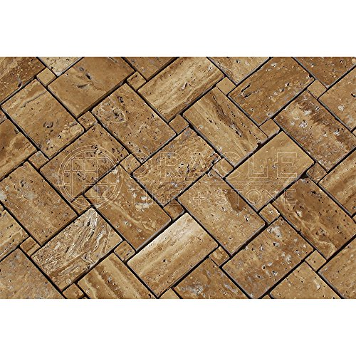 Noce Vein-Cut Travertine Basketweave Mosaic Tile, Brushed & Unfilled (LOT of 5 SHEETS) 80%OFF