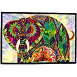 Textile Wall Hanging Animal Art Quilt Tapestry,Rose Tu & Lily Mama & Baby Elephants, OOAK Home Decor