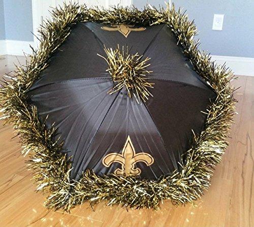 New Orleans Second Line Umbrellas Handmade, Black and Gold Fleur de Lis, Football Party Tailgate ()