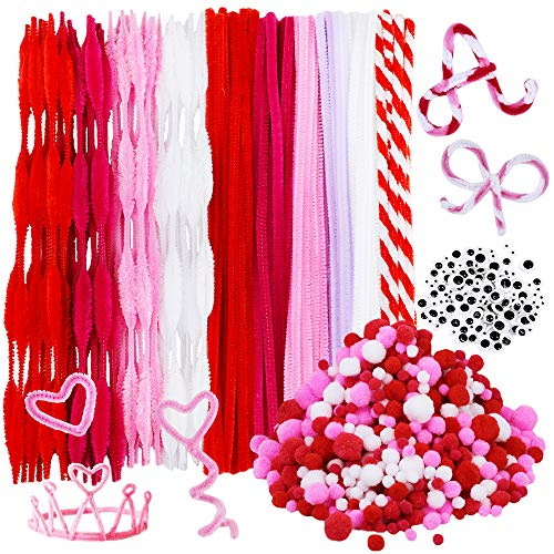 500 Pieces Valentine Chenille Stem Pipe Cleaners Set, Including 100 Pieces Pipe Cleaners, 4 Size Pom Poms and 4 Size Wiggle Googly Eyes for Craft DIY Art Supplies