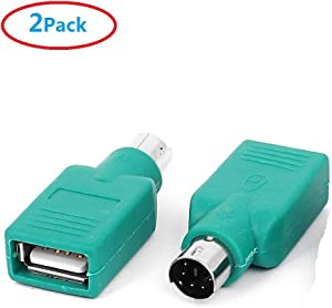 ZTOP 2 Pack USB Type A Male to PS/2 Female for Keyboard Mouse Converter(Green)
