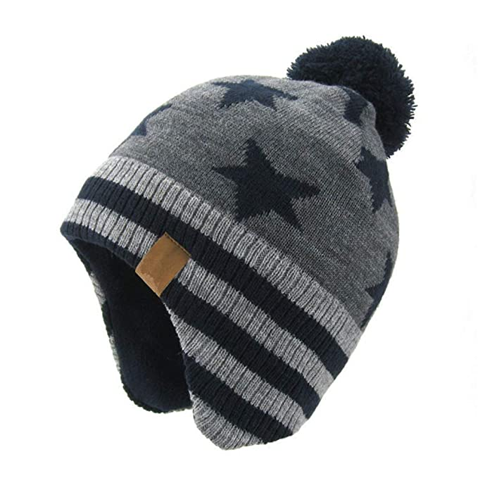 5cbde637511 AHAHA Kids Winter Earflap Beanie Hat Pompom Knitted Hats for Boys and  Girls  Amazon.co.uk  Clothing