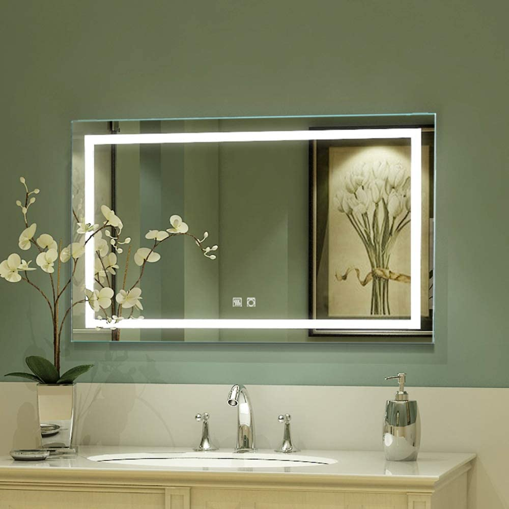Amazon Com Exbrite Led Bathroom Vanity Mirror 40 X 24 Inch Anti Fog Night Light Dimmable Touch Button Superslim 90 Cri Waterproof Ip44 Both Vertical And Horizontal Wall Mounted Way Home Kitchen