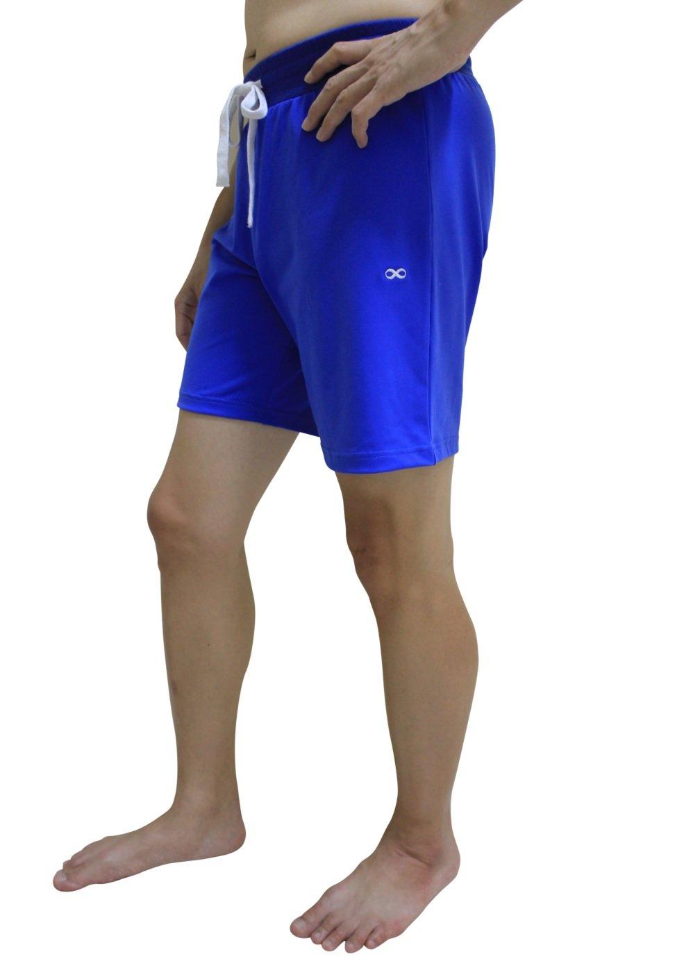 YogaAddict Yoga Shorts for Men, Quick Dry, No Pockets, for Any Yoga (Bikram, Hot Yoga, Hatha, Ashtanga), Pilates, Gym - Blue - Size L by YogaAddict