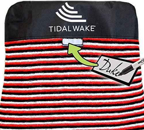 Tidal Wake TAG-IT スヌブノーズレッド&ブラックストライプサーフ&ウェイクボードソックバッグ内蔵ネームタグ58インチ、バッグにタグをつける