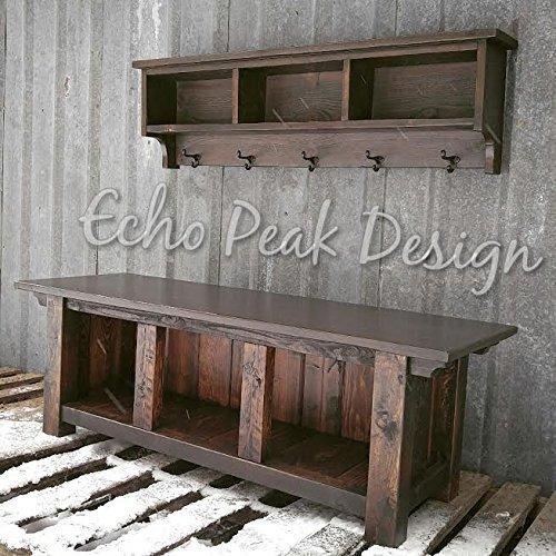- Rustic Three Cubby Bench and Shelf Cubby Set - Ebony