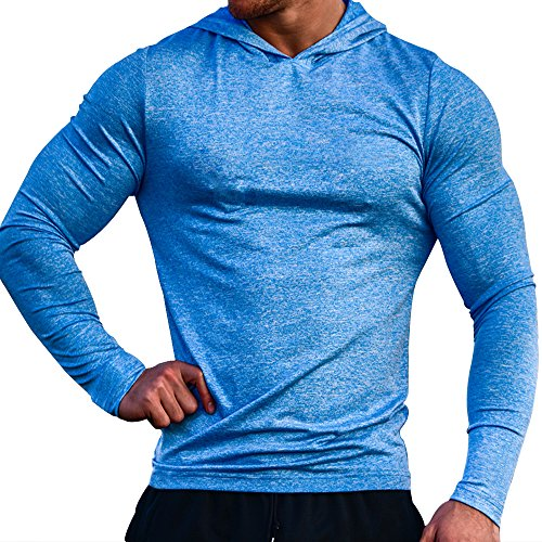 MUSCLE ALIVE Bodybuilding Long-Sleeve Hoodie Casual Sweatshirts Stretchy Cotton Heather Blue Color Size L