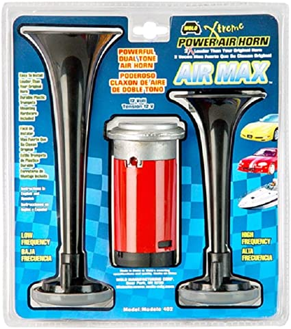 12 Volt Wolo 403 High and Low Tone Air Max Chrome Plated Trumpet Horns