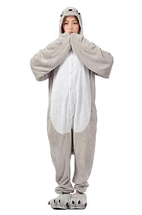 46045ba439c18 Haroty adulte Lion de mer combinaison stitch Pyjama À Capuche animaux  Cosplay Flanelle Vêtements de Nuit