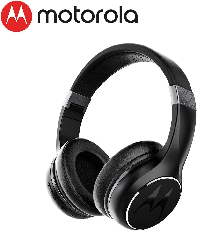 Amazon Com Motorola Escape 220 Over The Ear Bluetooth Wireless Headphones Hd Sound Built In Microphone 23 Hour Play Time Noise Isolation Foldable Compact Black Home Audio Theater
