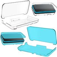 AFUNTA Estuches Suaves Protectores de 2 Piezas para Nueva Nintendo 2DS XL LL, Cubierta cristalina Anti Rasguños TPU - Transparente, Azul