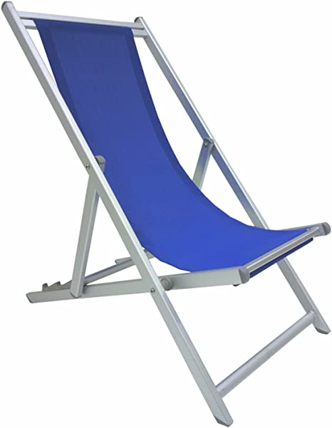 Transat Pliant De Luxe En Aluminium Antirouille Bleu Pour Plage Camping Piscine Jardin Amazon Fr Jardin