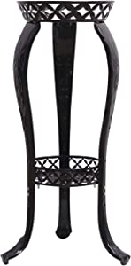 Metal Flower Pot Stands,32 Inches Tall Plant Stand - Rustproof Potted Plant Holder - Indoor & Outdoor Elegant Corner Decorative Display Rack - Gift Morden Planter Container (1, Black-2 Layer)