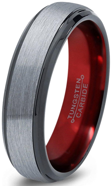 Tungsten Wedding Band Ring 6mm for Men Women Red Black Grey Beveled Edge Brushed Polished