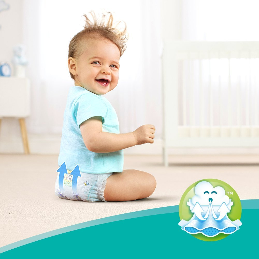 Pampers Baby-Dry Size 4+ Air Channels for Breathable Dryness Overnight 10-15 kg 152 Nappies Monthly Pack