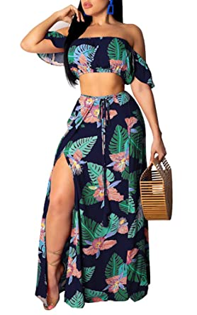 75c8f1430 Women's Sexy Off Shoulder Two Piece Outfits Floral Print Tube Crop Top Maxi  Skirt Sets Clubwear