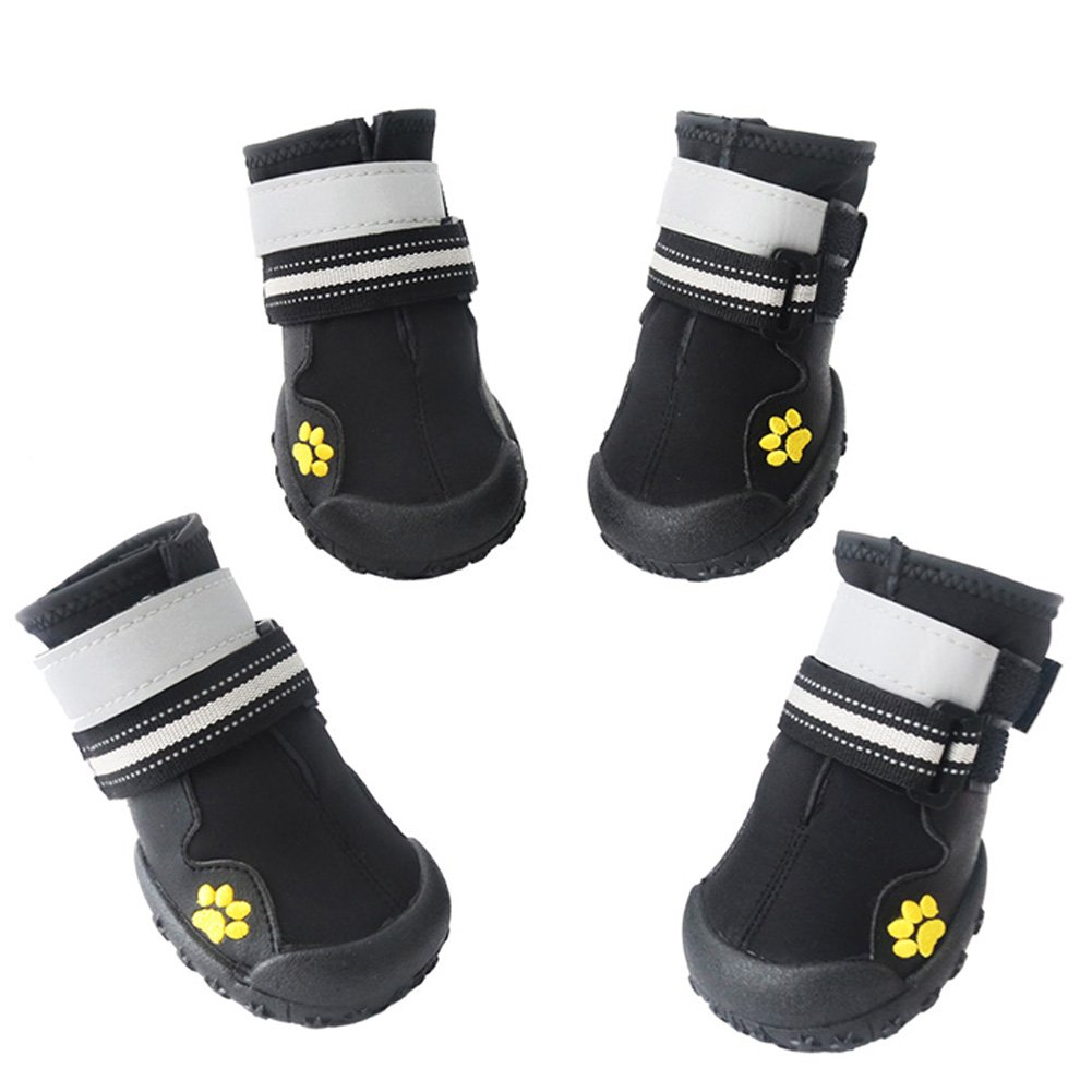 ASMPET Dog Boots Waterproof Shoes with Reflective Anti-Slip Sole Snow Boots Warm Paw,4pcs (4, Black) by ASMPET