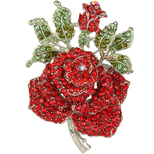 Rose Silver Tone Brooch - EVER FAITH Mothers' Gifts Austrian Crystal Enamel Rose Flower Leaf Brooch Red Silver-Tone