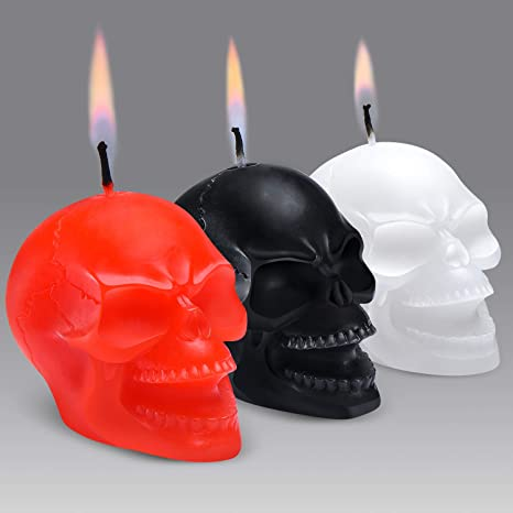 2-Pack, Black ; 4.75 x 3-Inch Decorative Themed Candles for Halloween Darware Large Skull Shaped Candles Horror and Novelty Decor