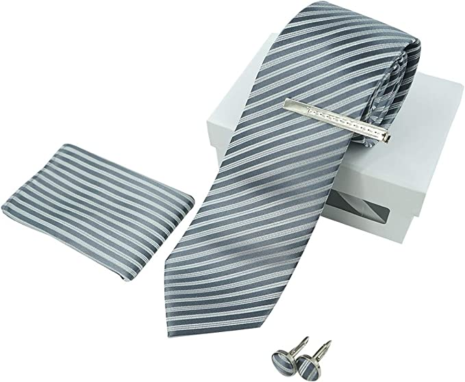 Xinclubna - Set de Corbata de Rayas para Hombre Fiesta Ceremonia ...