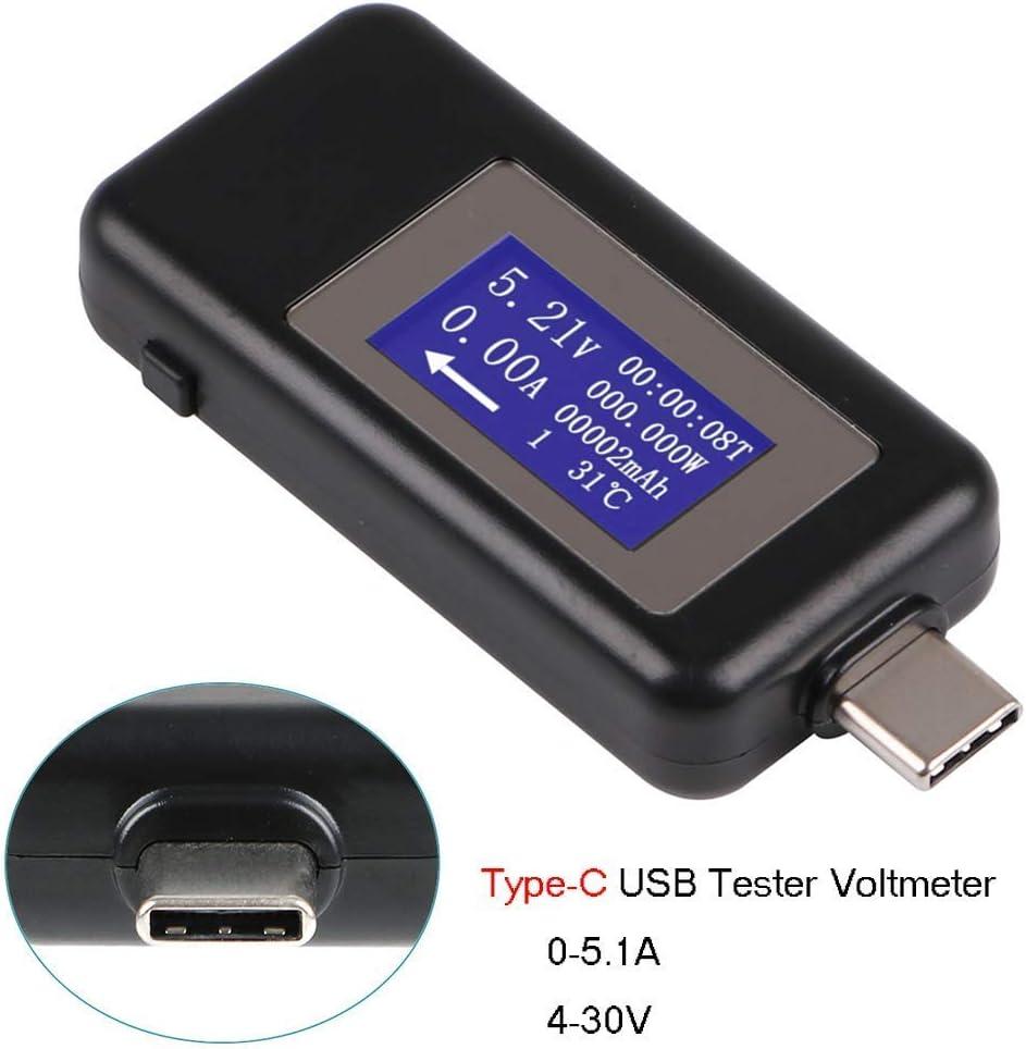 MakerHawk Type-C USB Meter Tester Power Meter USB Multimeter Voltage and Current Tester 0-5.1A 4-30V USB Power Tester Multi-function Tester Display Capacity Voltage Current Detector