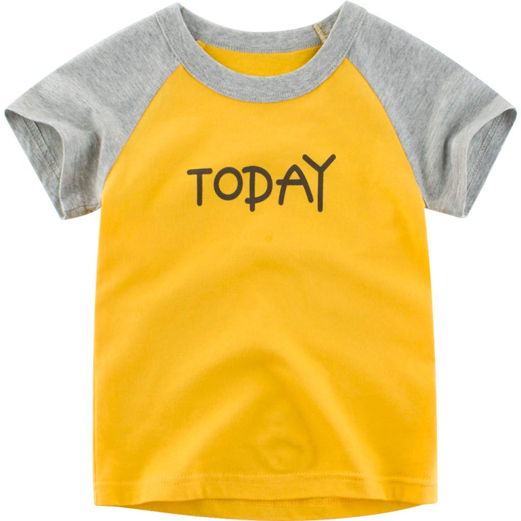 Midress Kid Baby Boy Girl Cute Patchwork Letter Print T Shirt Top Base Shirt Clothes (Yellow, 18-24 Months)
