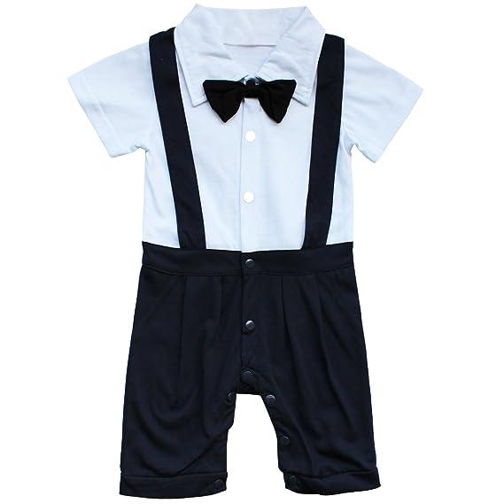 Tiaobug 2pcs Kleinkind Baby Jungen Bodysuit Tuxedo Trikotanzug Spielanzug Insgesamt Outfit mit Coat Mantel Taufe Smoking Anzug 0-24 Monate Gentleman Hochzeit Weihnachten