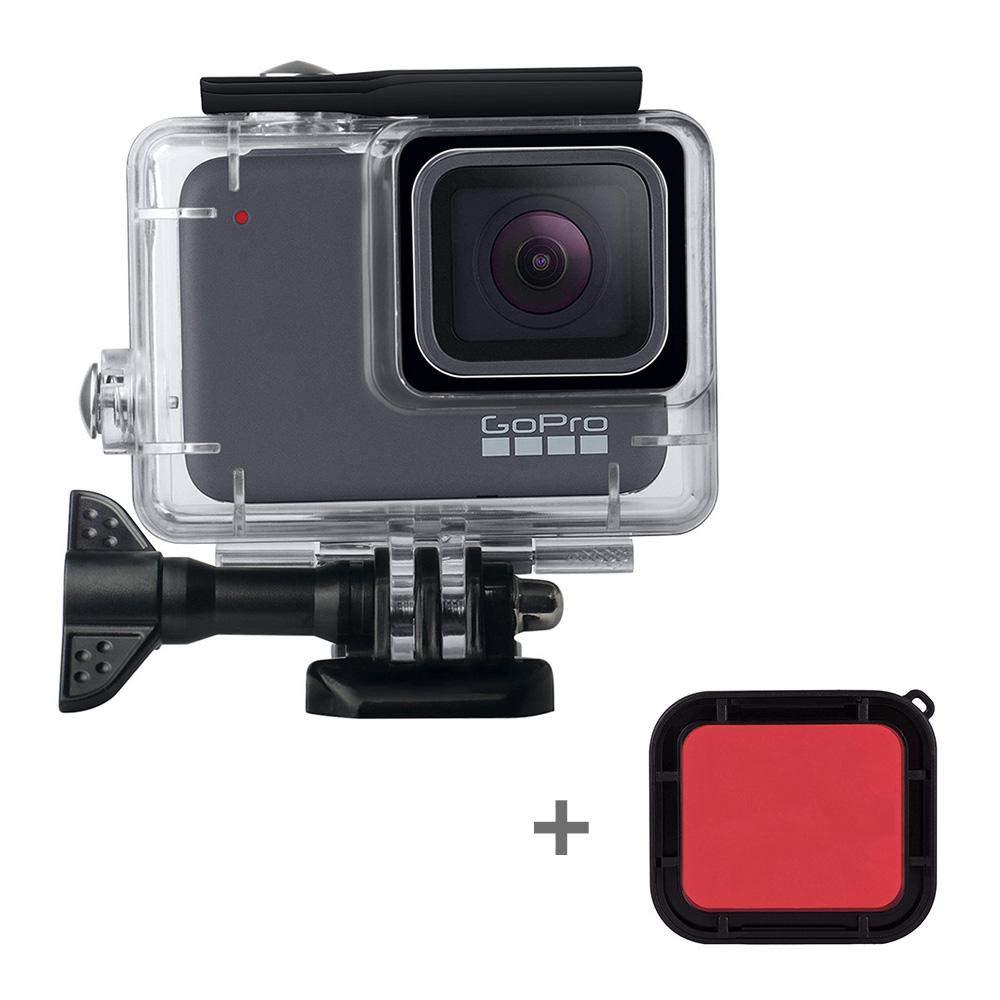 防水ハウジングケースハウジングシェル 水中防水保護ハウジングケース レッドフィルターブラケットアクセサリー付き Go Pro アクションカメラ Hero 7 ブラック   B07P5MSMJH