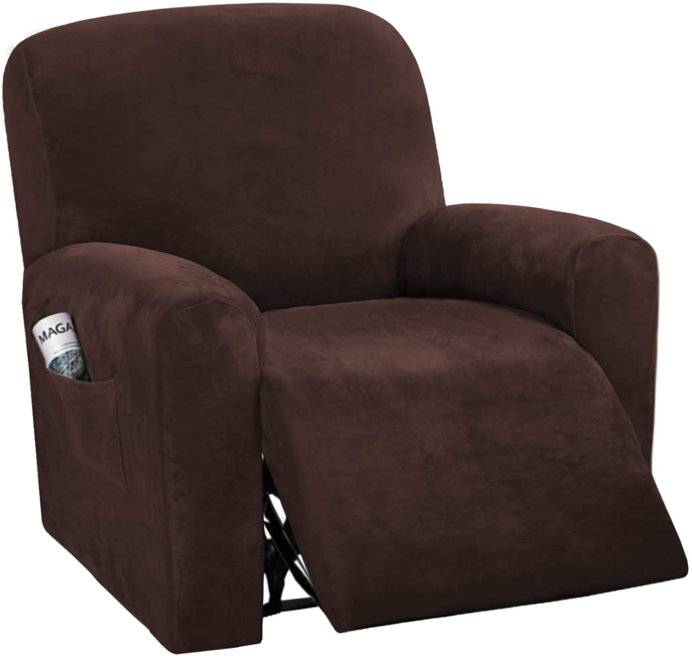 H.VERSAILTEX 4-Pieces Recliner Chair Covers Velvet Stretch Reclining Couch Covers for 1 Cushion Sofa Slipcovers Furniture Covers Form Fit Customized Style Thick Soft Washable(Small, Brown)