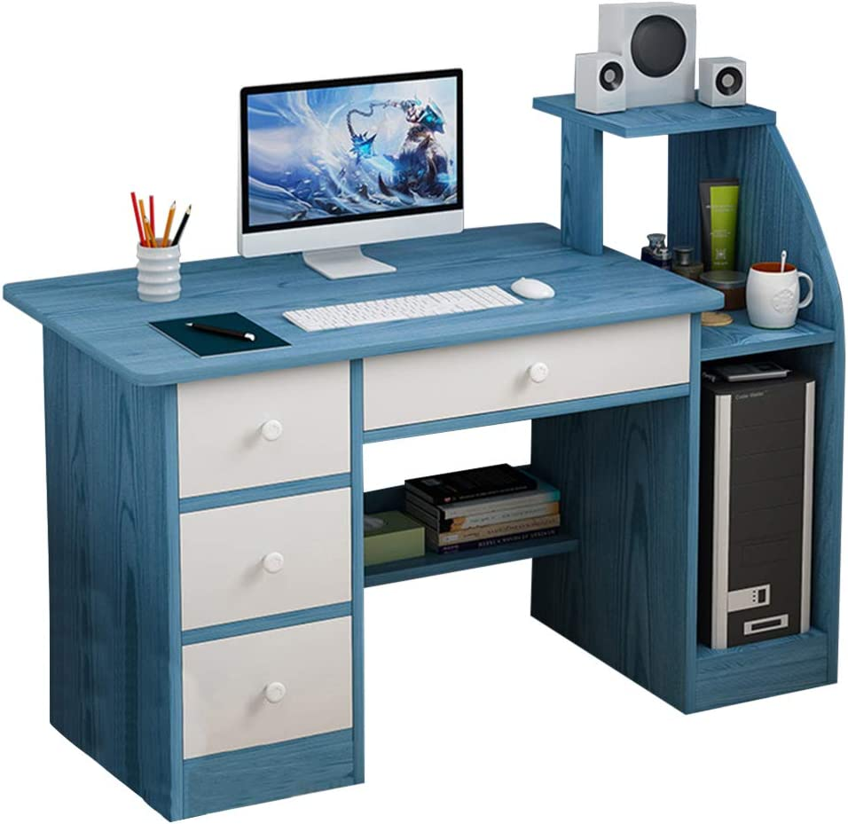Computer Laptop Desk with Drawer Shelf, Children Study Desk and Bookcase Office Home PC Table with Mainframe Rack Modern Small Writing Learning Workstation (Bule)