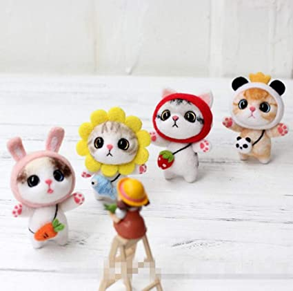 DIY Handcraft Cat Doll Wool Felt Non Finished Poked Material tool Kit for kids