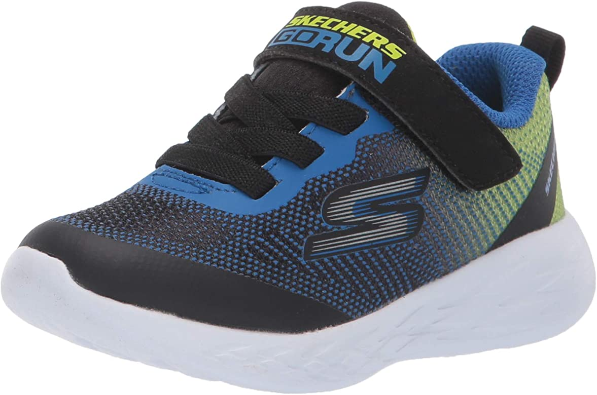 Skechers Boys Go Run 600-Farrox Trainers, Blue (Blue Black Lime ...