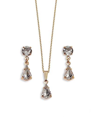 Diamante jewellery crystal teardrop pendant set swarovski diamante jewellery crystal teardrop pendant set swarovski crystal wedding jewellery mozeypictures Choice Image