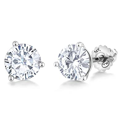8ac880eb7 Amazon.com: Charles & Colvard Forever Classic 6mm 1.60cttw DEW White  Created Moissanite 14K White Gold Screw Back Posts Round Martini Stud  Earrings: Jewelry