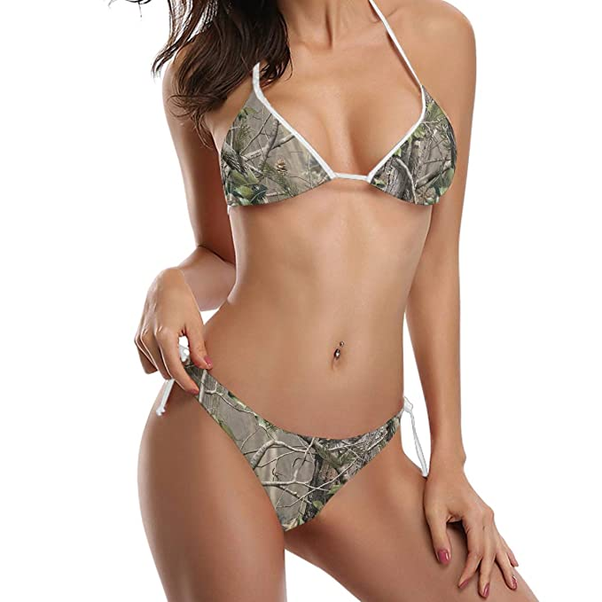 57e065994b Image Unavailable. Image not available for. Color: Women's Two Piece Halter  Neck Bikini Swimsuits Padded Realtree Camo Print Swimwear ...