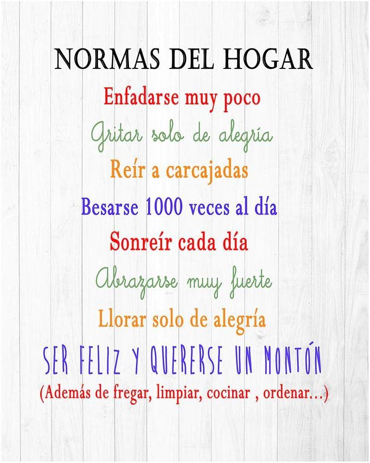 DCine Cuadro Decorativo/Frases positivas/sobre Madera/Regalo/Normas del hogar 19 cm x 25 cm x 4 mm/Madera (Normas del HOGAR 2)