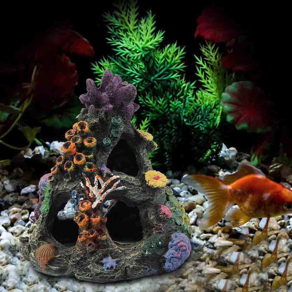 BEESCLOVER Simulation Resin Mountain Fish Aquarium Rockery Coral Landscape Ornaments Decor Fish Shelter House