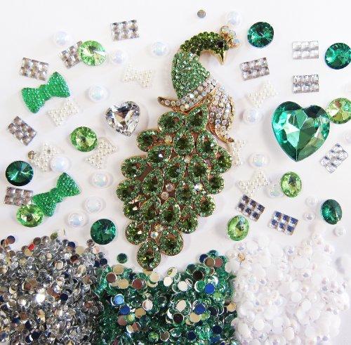 DIY 3D Bling Cell Phone Case Deco Kit: Greenland Emerald Rhinestone Peacock and Rhinestone Green Gem Cabochons