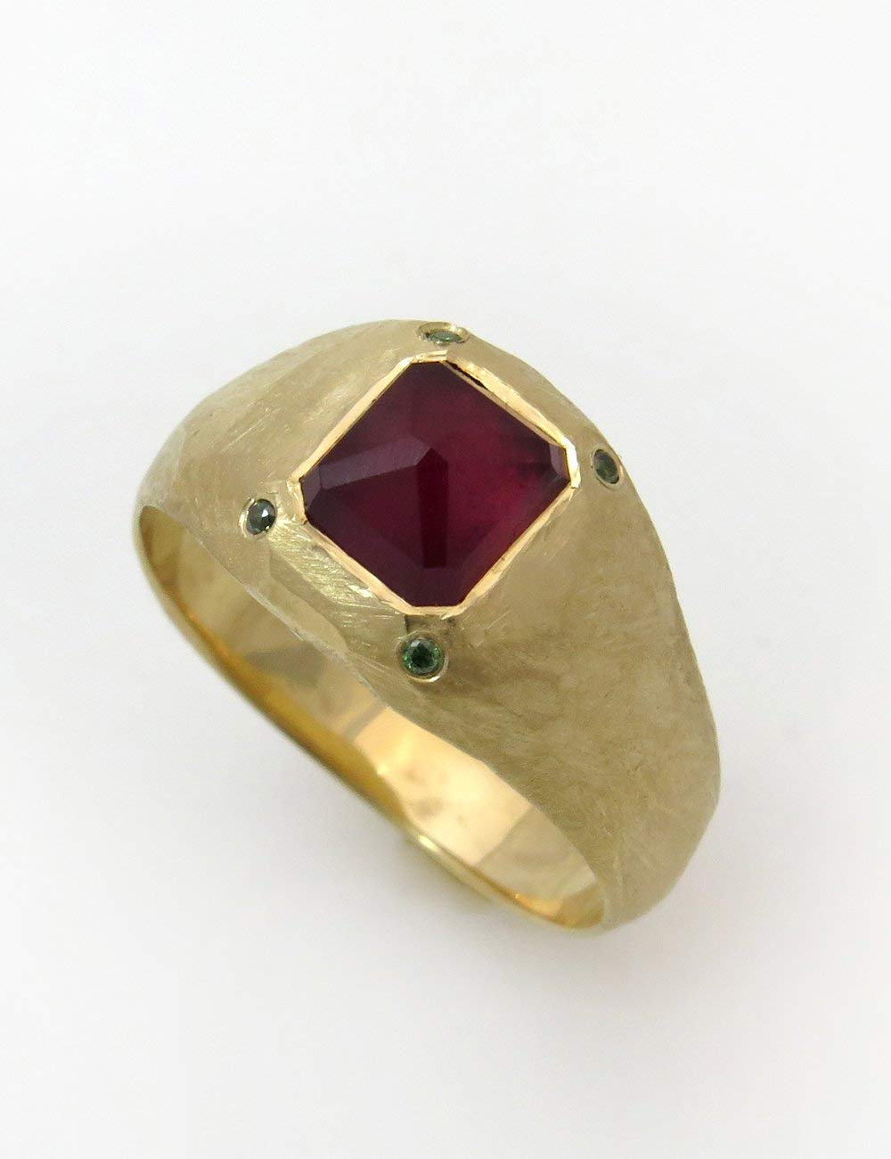 Handmade Cocktail Statement Signet Multistone Ring Ruby and Diamond Ring Rose or White Gold Made of Solid 18K Yellow