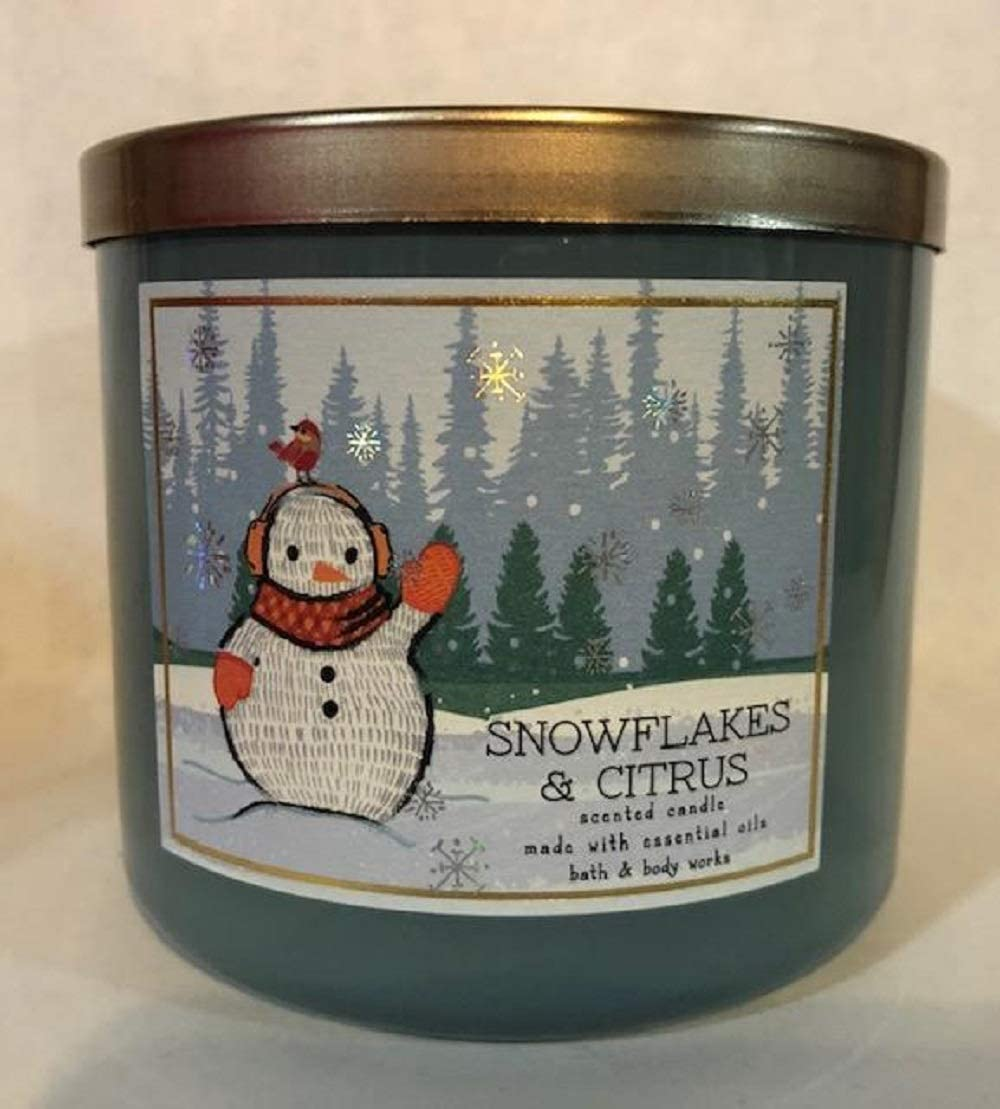 White Barn Bath & Body Works 3-Wick Scented Candle in Snowflakes & Citrus (Snowman Design)