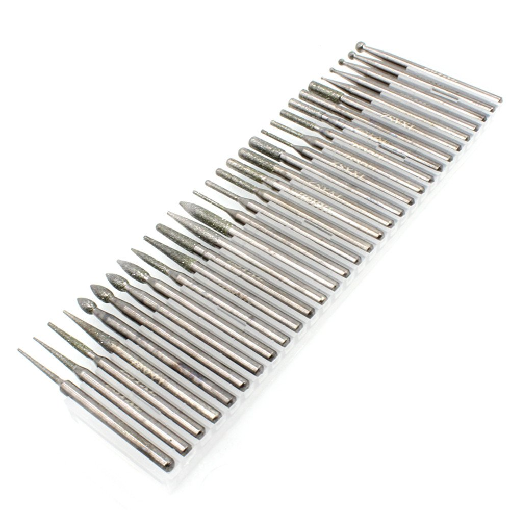 SANHOOII HW532 Super-quality 30Pcs 3mm Shank Diamond Burrs bit tools For Wood Metal Jewellery Glass DIY Carving Rotary Tool Accessories