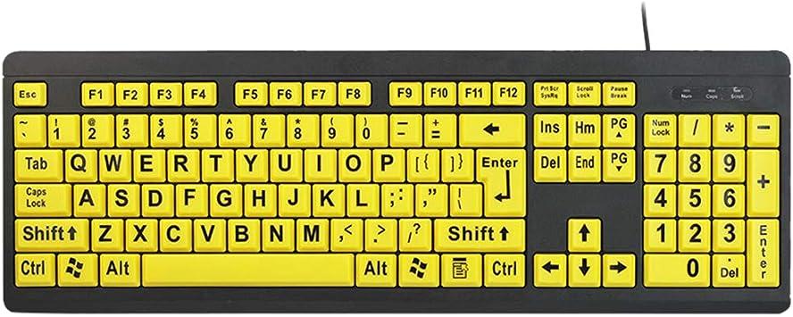Zhhlaixing Teclado Amarillo con Letras Grandes USB con Cable ...