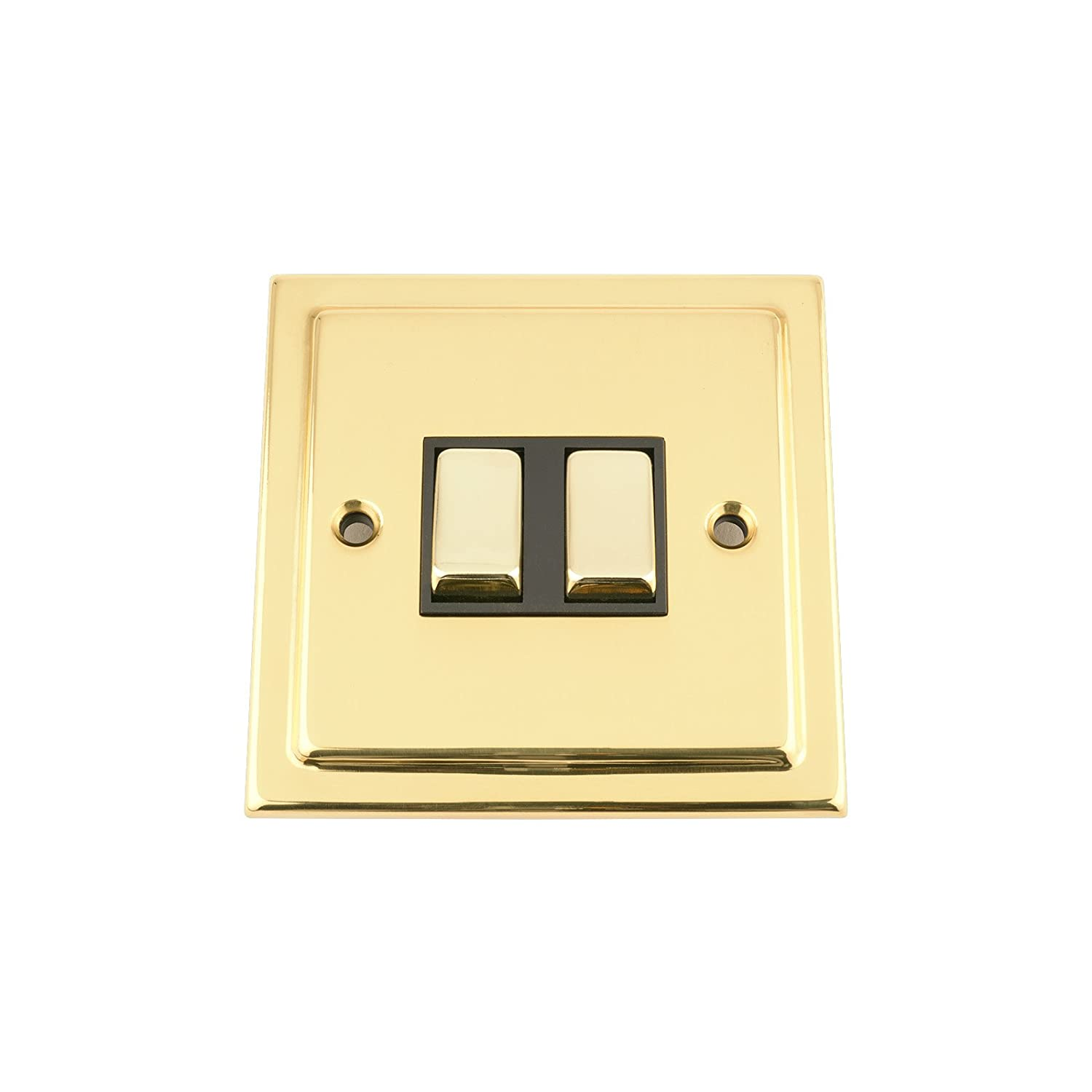 A5 Double Light Switch 2 Gang 2 Way 10A - Polished Brass Victorian - Black - Metal Rocker Switch A5 Products