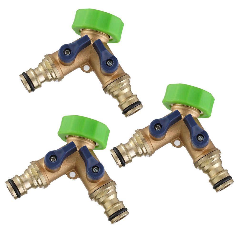 Dugoo Garden Hose Splitter 2 Way Brass,3/4'' Quick Connector Manifold Knobs Y Shape Valve Heavy Duty Agricultural Irrigation Tap Adapter,3Pack by Dugoo