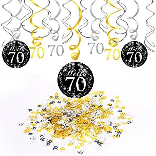 70th Birthday Decoration,Konsait 70th Birthday Hanging Swirl (15Counts),Happy Birthday & 70 Table Confetti (1.05oz) Black and Gold Hanging Swirl Ceiling Decor Table Decor for Birthday Party Decoration