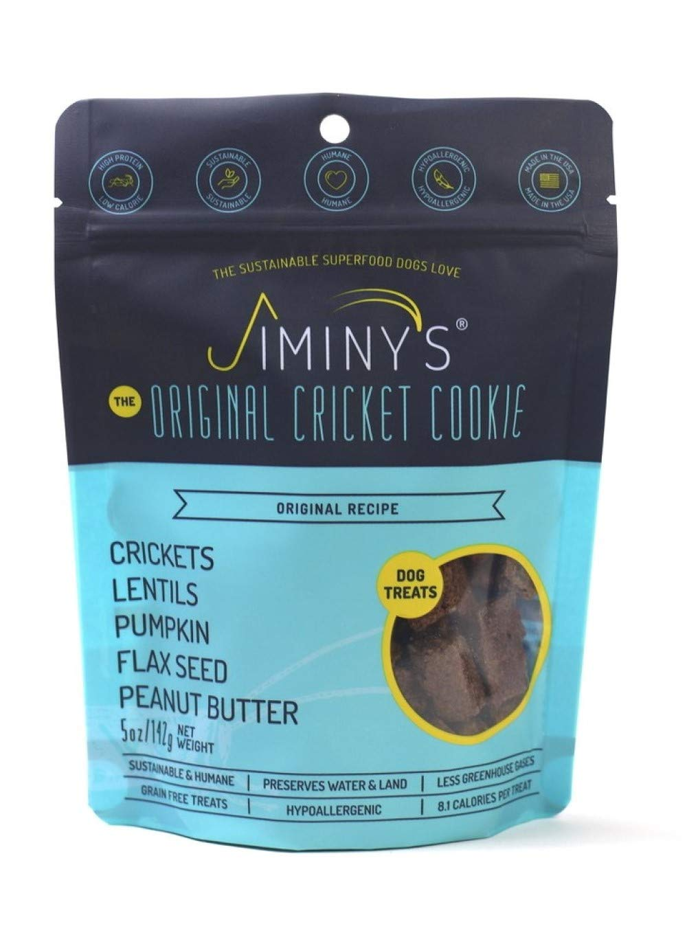 Jiminy's Cricket Predein Dog Treats, 5 Ounce Bag, Pumpkin & Peanut Butter (Packaging May Vary)