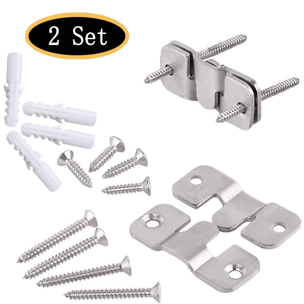 Furniture Flush Mount Bracket, Headboard Wall Mount Hardware, Large Picture and Mural Painting Hangers, Mirror Clips, Stainless Steel Mount Brackets Connectors 2 Sets (Small)