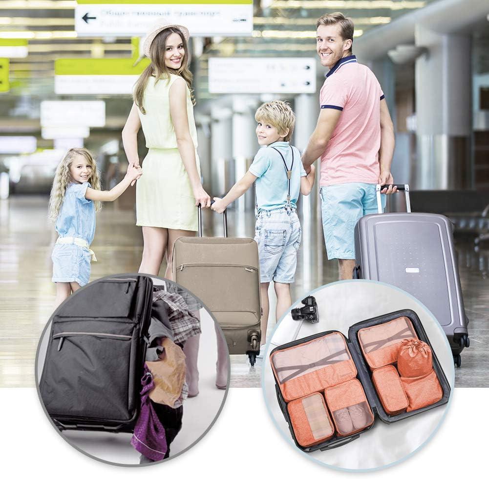 Packing Cubes VAGREEZ 7 Pcs Travel Luggage Packing Organizers Set with Laundry Bag Black